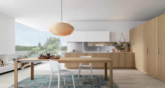 Alb si lemn, combinatia ideala pentru o bucatarie moderna