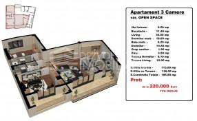Apartament 3 camere, Aviatiei