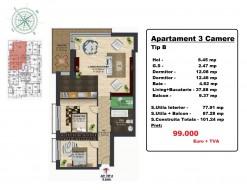 Apartament 3 camere, Pipera