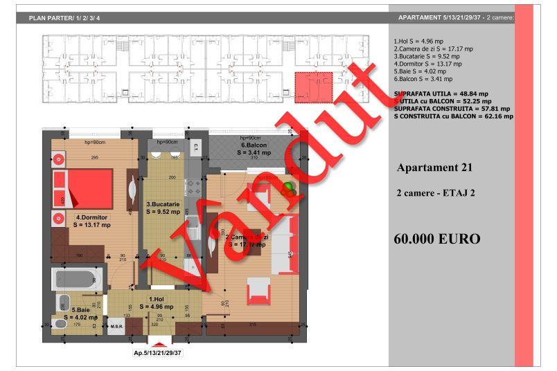 Apartament 2 camere, 49 mp, Nr. 21, Nicolae Grigorescu Residence