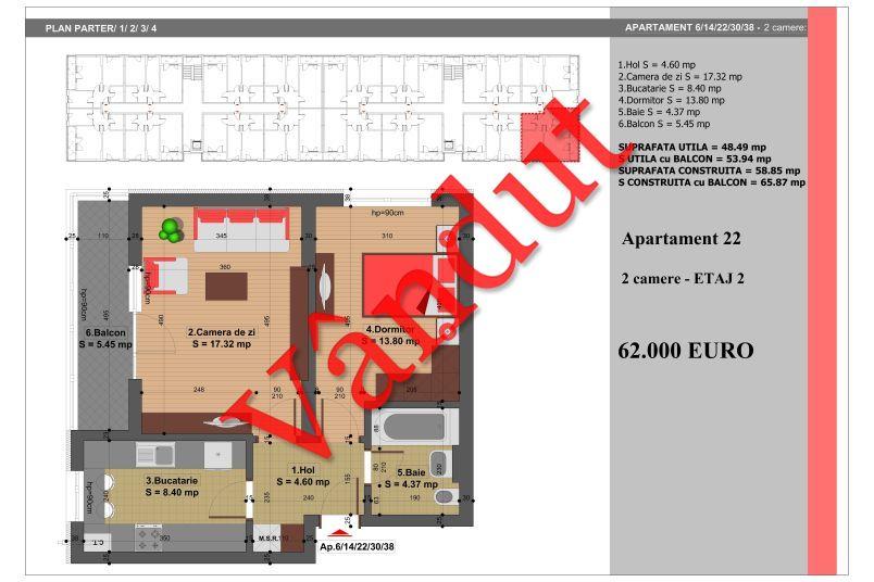 Apartament 2 camere, 49 mp, Nr. 22, Nicolae Grigorescu Residence