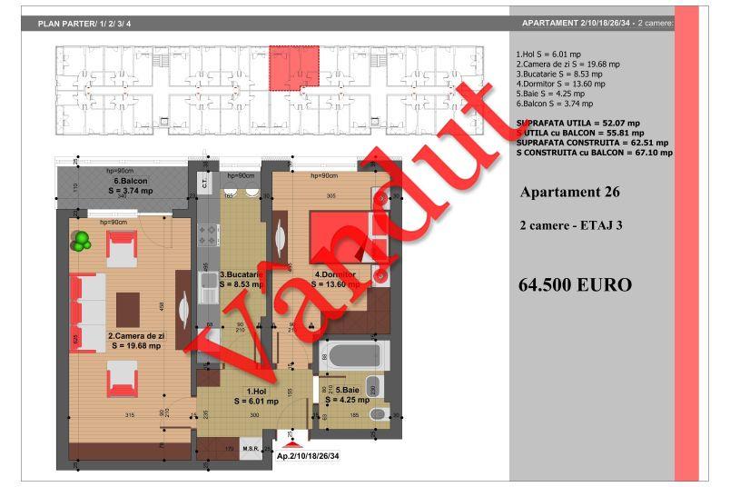 Apartament 2 camere, 52 mp, Nr. 26, Nicolae Grigorescu Residence