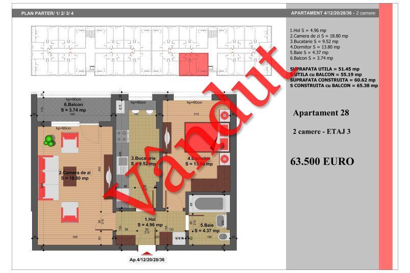 Apartament 2 camere, 51 mp, Nr. 28, Nicolae Grigorescu Residence