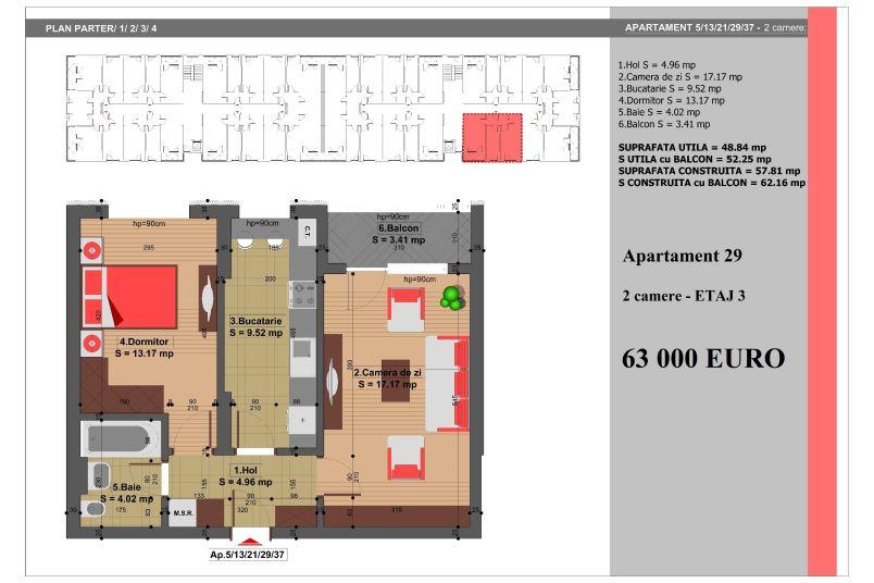 Apartament 2 camere, 49 mp, Nr. 29, Nicolae Grigorescu Residence