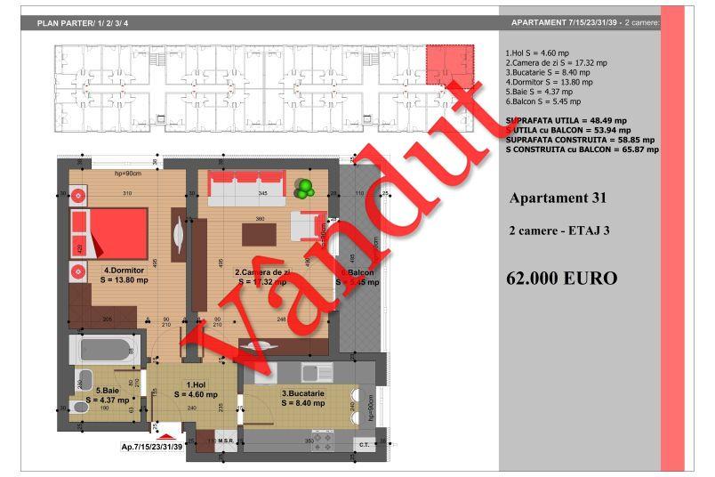 Apartament 2 camere, 49 mp, Nr. 31, Nicolae Grigorescu Residence