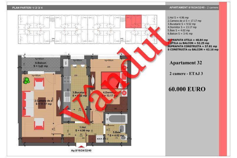Apartament 2 camere, 49 mp, Nr. 32, Nicolae Grigorescu Residence