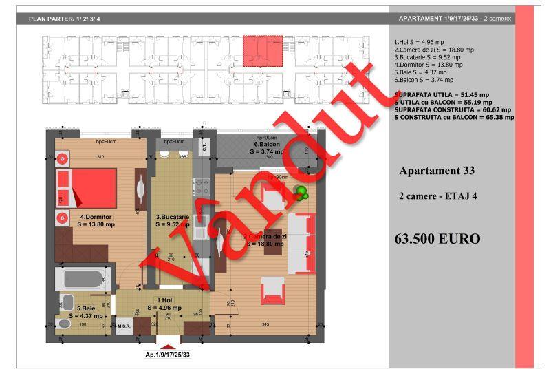 Apartament 2 camere, 51 mp, Nr. 33, Nicolae Grigorescu Residence