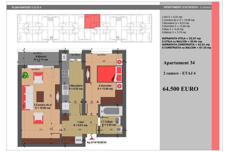 Apartament 2 camere, 52 mp, Nr. 34, Nicolae Grigorescu Residence