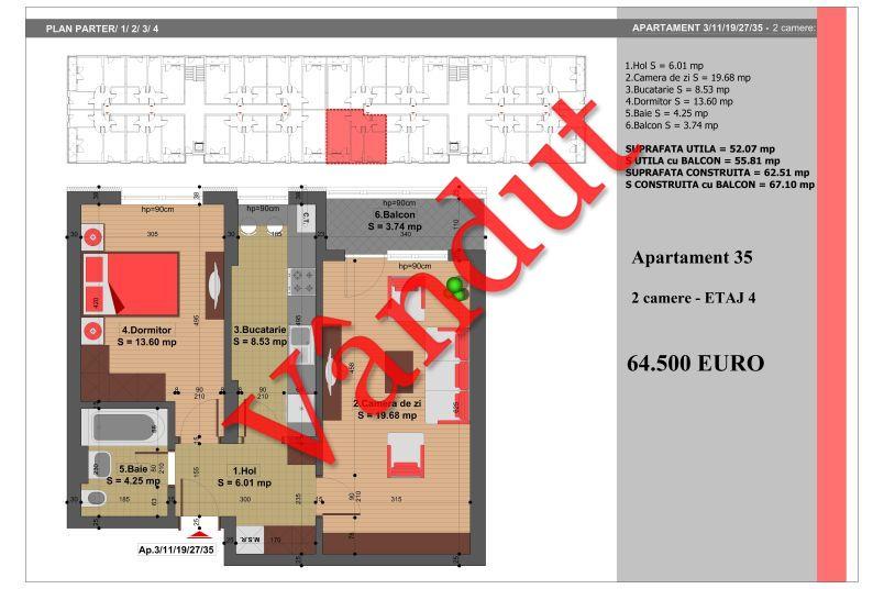 Apartament 2 camere, 52 mp, Nr. 35, Nicolae Grigorescu Residence