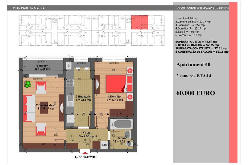 Apartament 2 camere, 49 mp, Nr. 40, Nicolae Grigorescu Residence