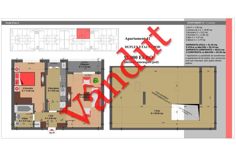 Duplex 4 camere, 110 mp, Nr. 41, Nicolae Grigorescu Residence