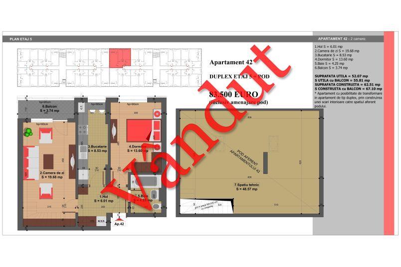 Duplex 4 camere, 101 mp, Nr. 42, Nicolae Grigorescu Residence