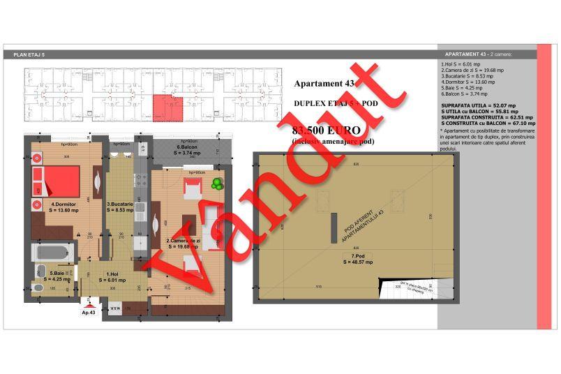 Duplex 4 camere, 101 mp, Nr. 43, Nicolae Grigorescu Residence