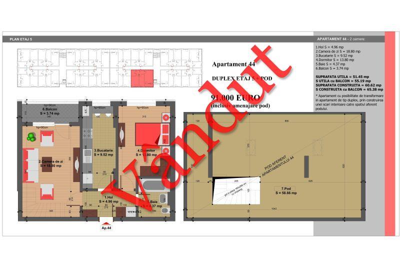 Duplex 4 camere, 110 mp, Nr. 44, Nicolae Grigorescu Residence