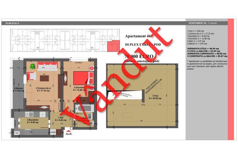 Duplex 4 camere, 88 mp, Nr. 46, Nicolae Grigorescu Residence