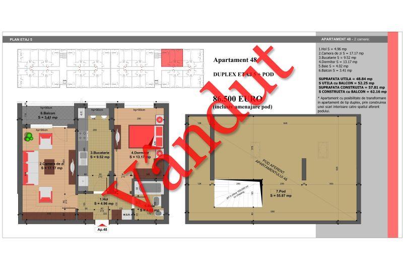 Duplex 4 camere, 105 mp, Nr. 48, Nicolae Grigorescu Residence