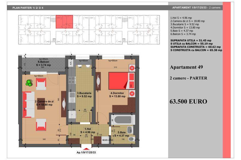 Apartament 2 camere, 51 mp, Nr. 49, Nicolae Grigorescu Residence
