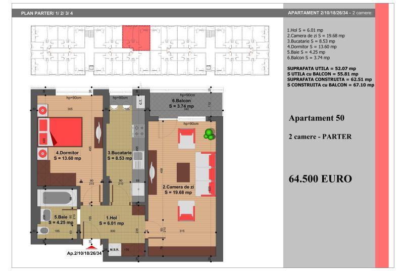 Apartament 2 camere, 52 mp, Nr. 50, Nicolae Grigorescu Residence