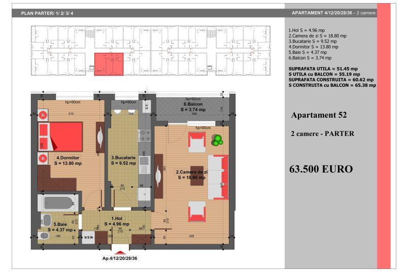 Apartament 2 camere, 51 mp, Nr. 52, Nicolae Grigorescu Residence
