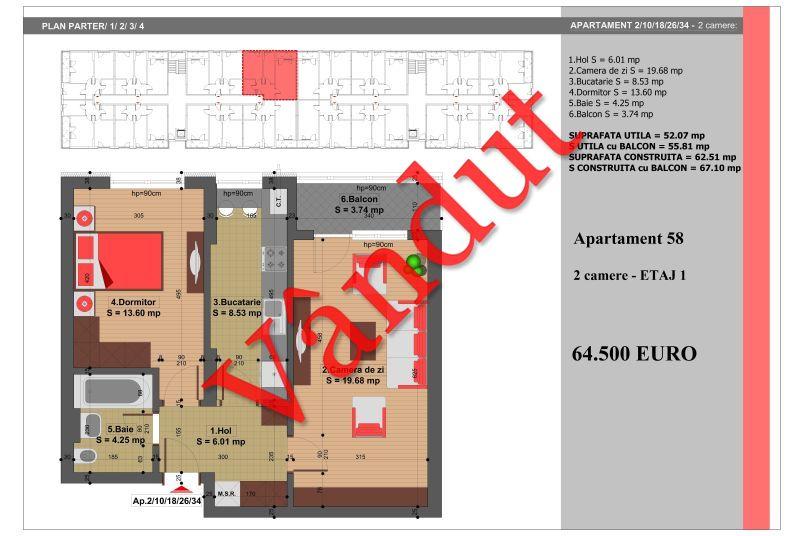 Apartament 2 camere, 52 mp, Nr. 58, Nicolae Grigorescu Residence