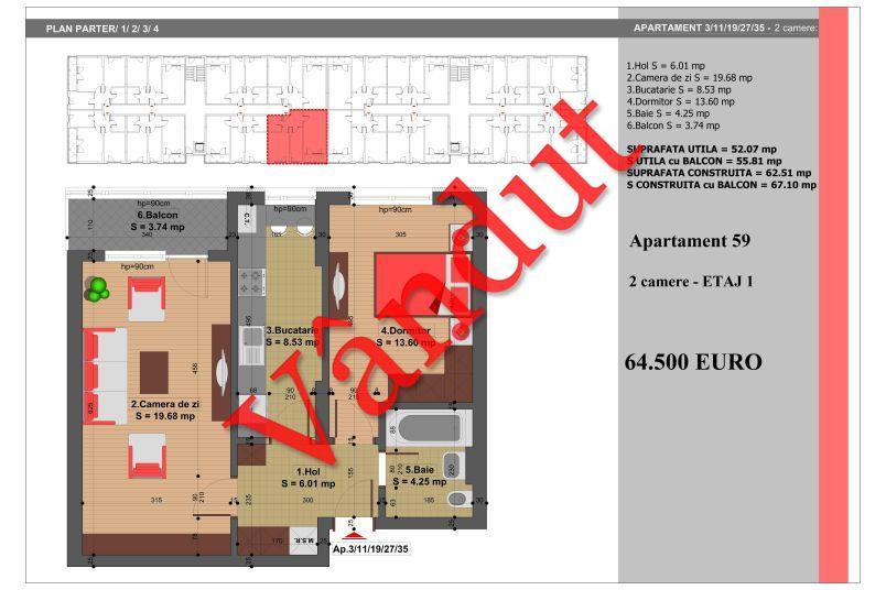 Apartament 2 camere, 52 mp, Nr. 59, Nicolae Grigorescu Residence