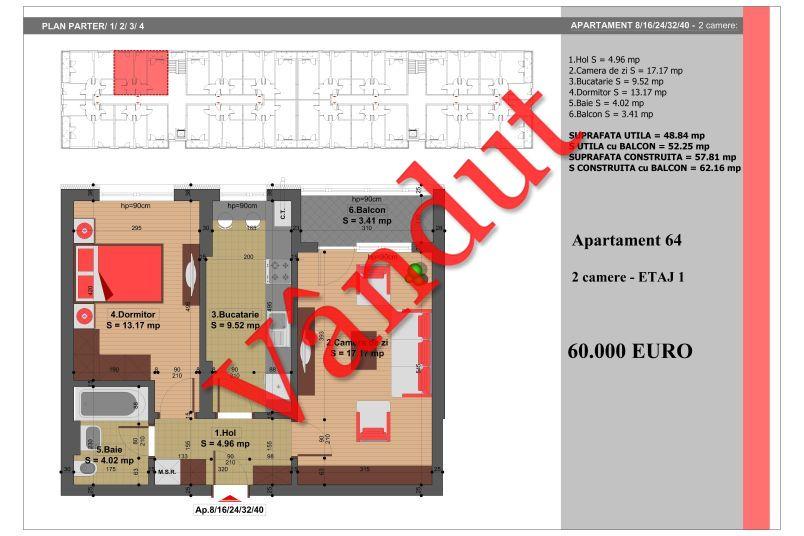 Apartament 2 camere, 49 mp, Nr. 64, Nicolae Grigorescu Residence