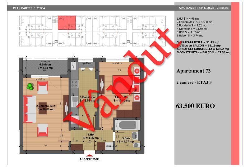 Apartament 2 camere, 51 mp, Nr. 73, Nicolae Grigorescu Residence