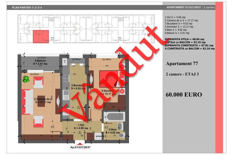 Apartament 2 camere, 49 mp, Nr. 77, Nicolae Grigorescu Residence