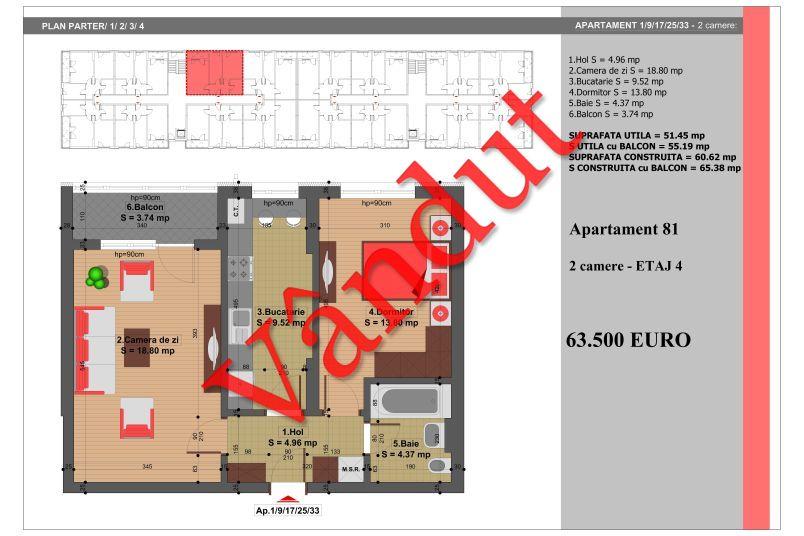 Apartament 2 camere, 51 mp, Nr. 81, Nicolae Grigorescu Residence