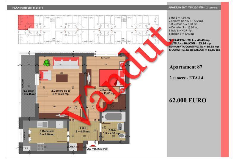 Apartament 2 camere, 49 mp, Nr. 87, Nicolae Grigorescu Residence