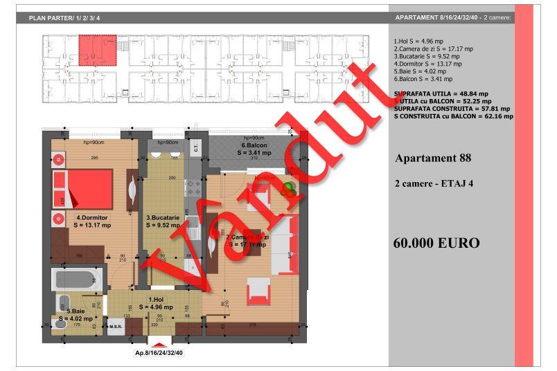 Apartament 2 camere, 49 mp, Nr. 88, Nicolae Grigorescu Residence