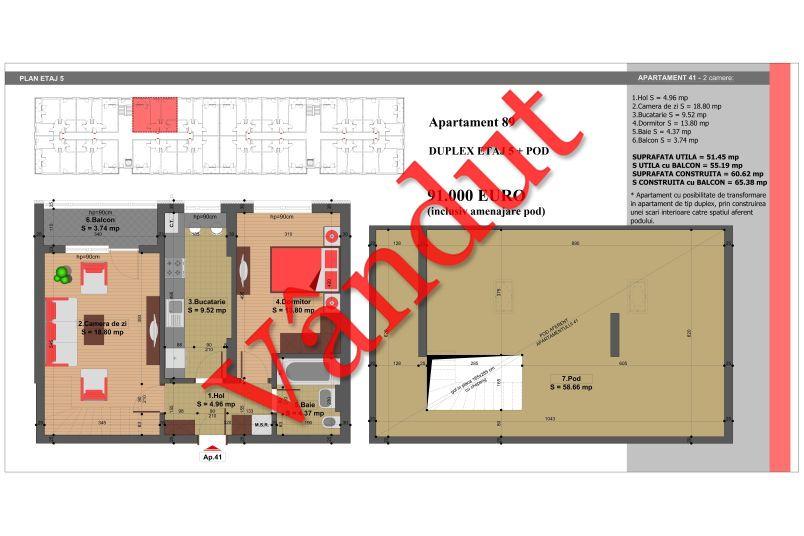 Duplex 4 camere, 110 mp, Nr. 89, Nicolae Grigorescu Residence