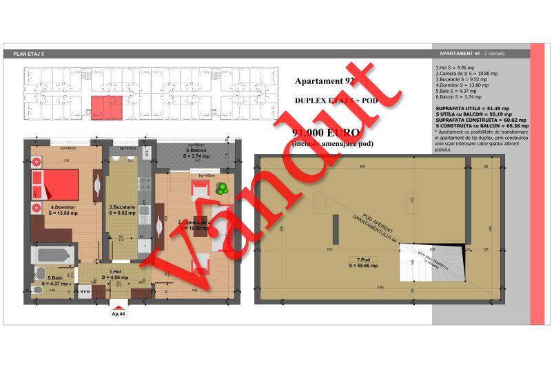 Duplex 4 camere, 110 mp, Nr. 92, Nicolae Grigorescu Residence