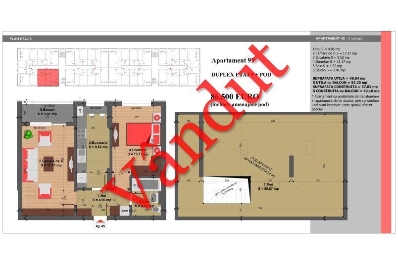 Duplex 4 camere, 105 mp, Nr. 93, Nicolae Grigorescu Residence