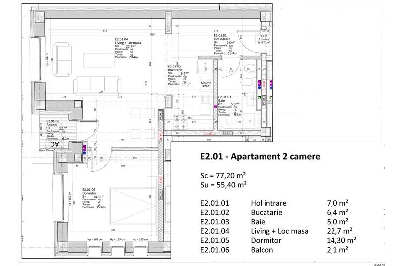 Apartamente 2 camere, 55 mp, Nr. E 2.01, Popa Nan 21
