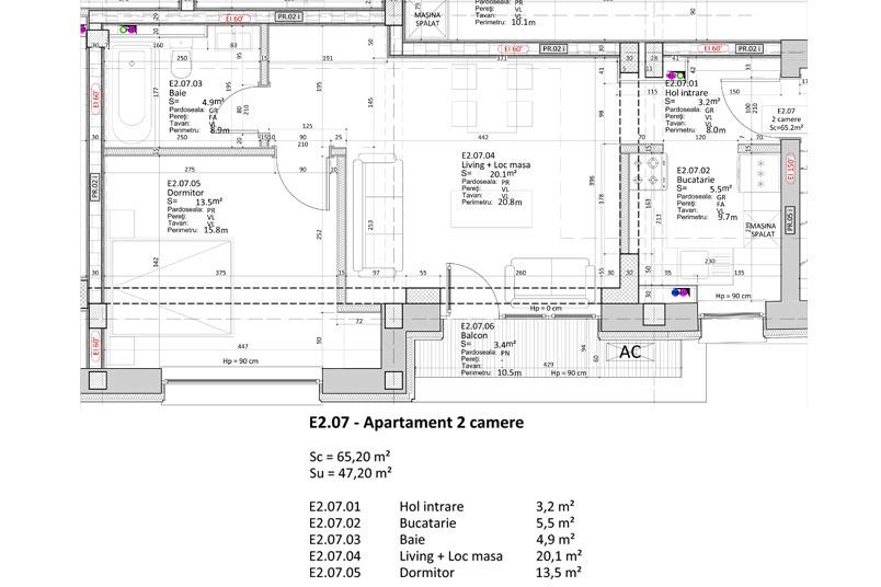 Apartamente 2 camere, 47 mp, Nr. E 2.07, Popa Nan 21