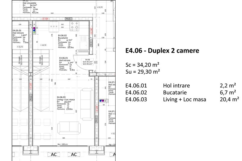Duplexuri 2 camere, 60 mp, Nr. E 4.06, Popa Nan 21