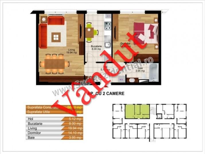 Apartamente 2 camere, 51 mp, Kristal Residence Berceni