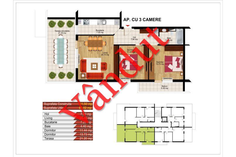 Apartamente 3 camere, 86 mp, Kristal Residence Berceni