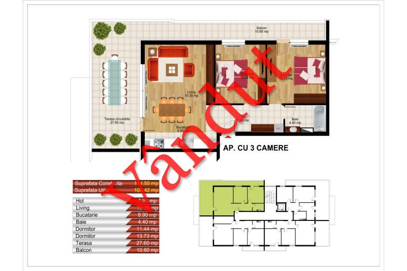 Apartamente 3 camere, 103 mp, Kristal Residence Berceni