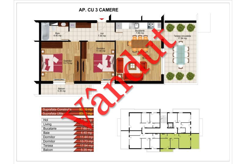 Apartamente 3 camere, 84 mp, Kristal Residence Berceni