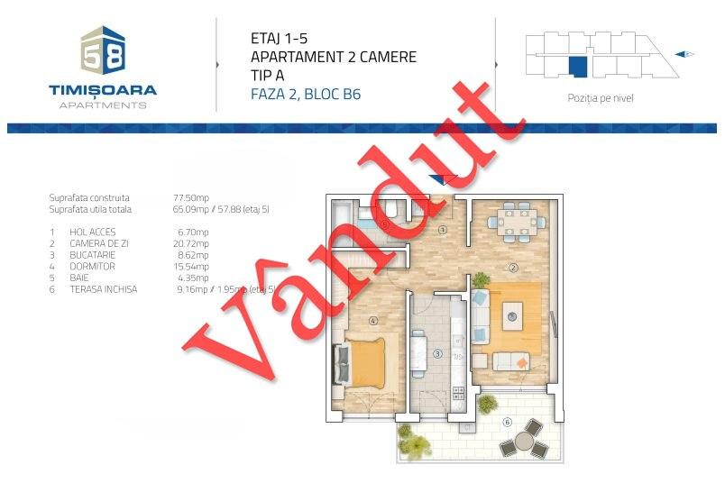 Apartamente 2 camere, 69 mp, Model A B6, Timisoara 58 Apartments