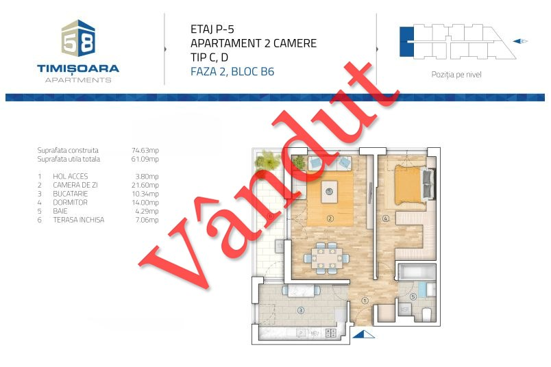 Apartamente 2 camere, 64 mp, Model CD B6, Timisoara 58 Apartments