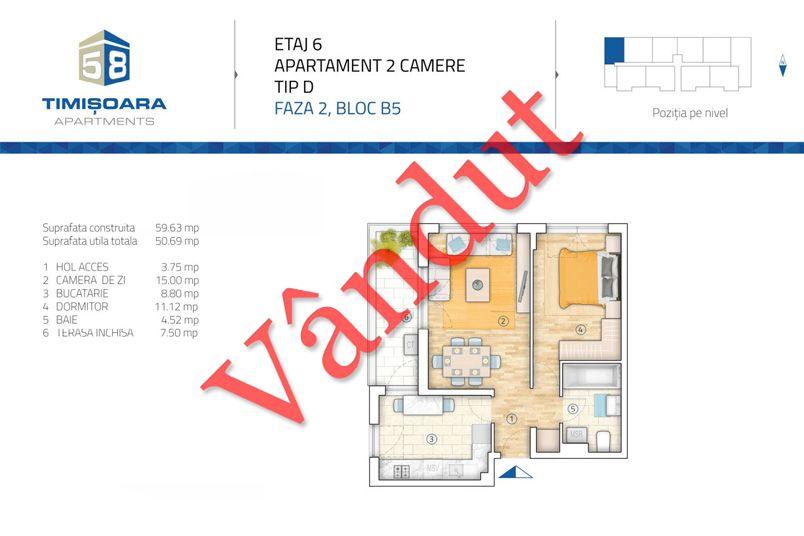 Apartamente 2 camere, 51 mp, Model D B5, Timisoara 58 Apartments