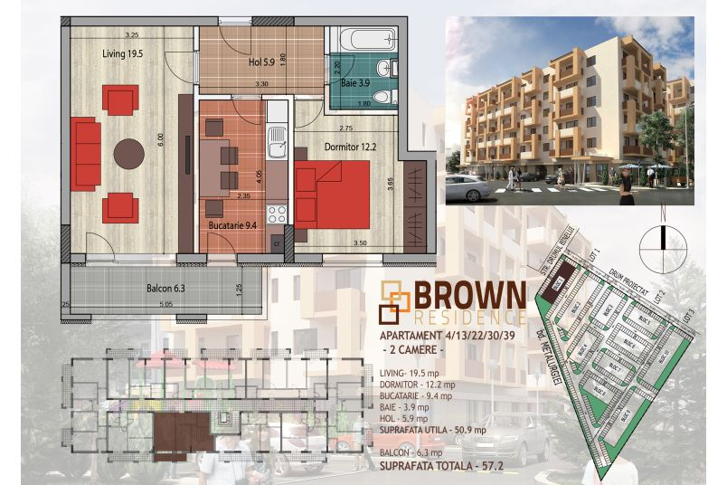 Apartamente 2 camere, 51 mp, Brown Residence Metalurgiei 2