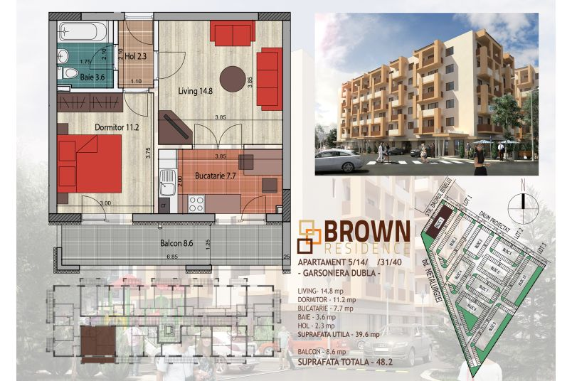 Apartamente 2 camere, 40 mp, Brown Residence Metalurgiei 2