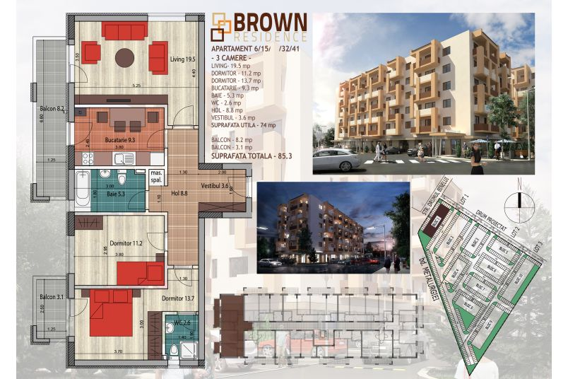 Apartamente 3 camere, 74 mp, Brown Residence Metalurgiei 2