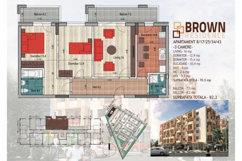 Apartamente 3 camere, 71 mp, Brown Residence Metalurgiei 2