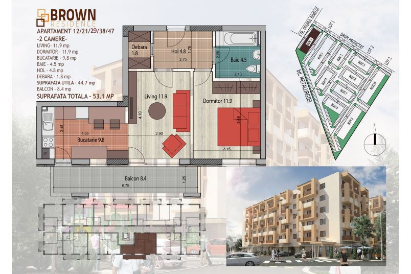 Apartamente 2 camere, 45 mp, Brown Residence Metalurgiei 2