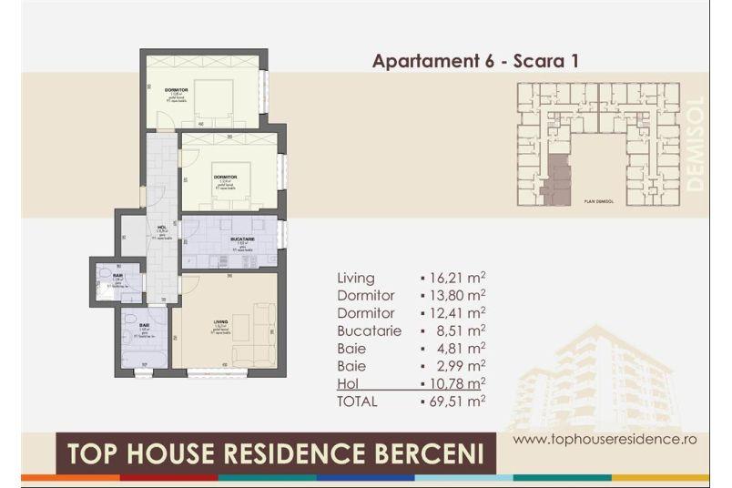 Apartamente 3 camere, 70 mp, Top House Residence Berceni Metalurgiei